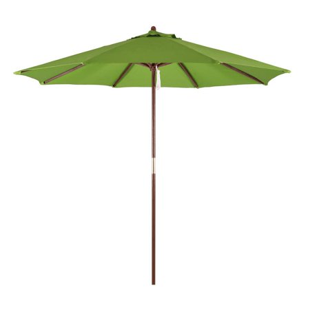 Astella 9' Patio Market Umbrella in Poylester with Bronze Wood Pole Wood Ribs Pulley Lift