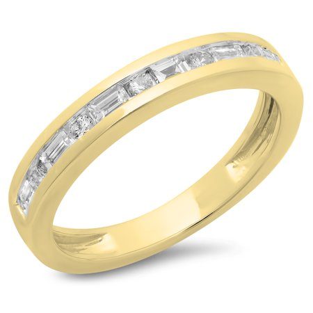 055 Carat Ctw 10K Yellow Gold Alternating Round Amp Baguette Cut Diamond Ladies Channel Set