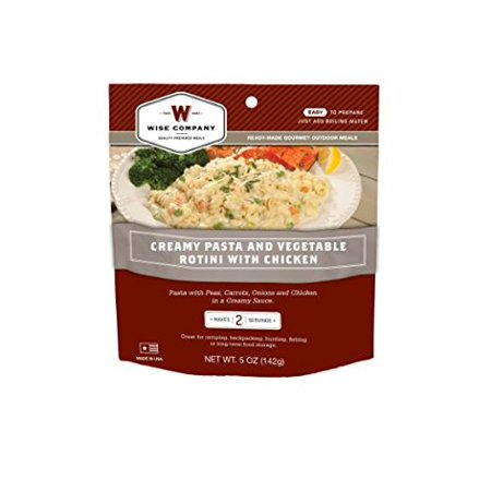 WISE COMPANY Camp Food, Creamy Pasta & Vegetable With Chicken, 2-Serving Pouch