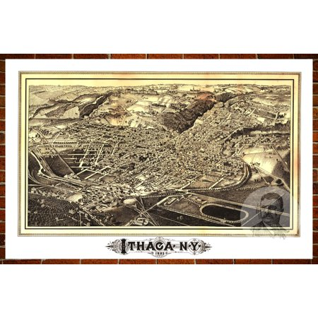 Ted's Vintage Art Map of Ithaca, NY 1882; Old New York Decor 18