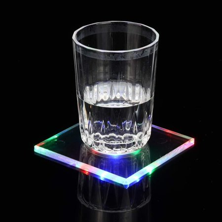 Eutuxia LED Light Cup Coaster. Acrylic Ultra-thin Crystal Coasters Creative Luminous with Lighting Base Lamp Good for Parties & Bar Cool Gift Idea! [Square] ()