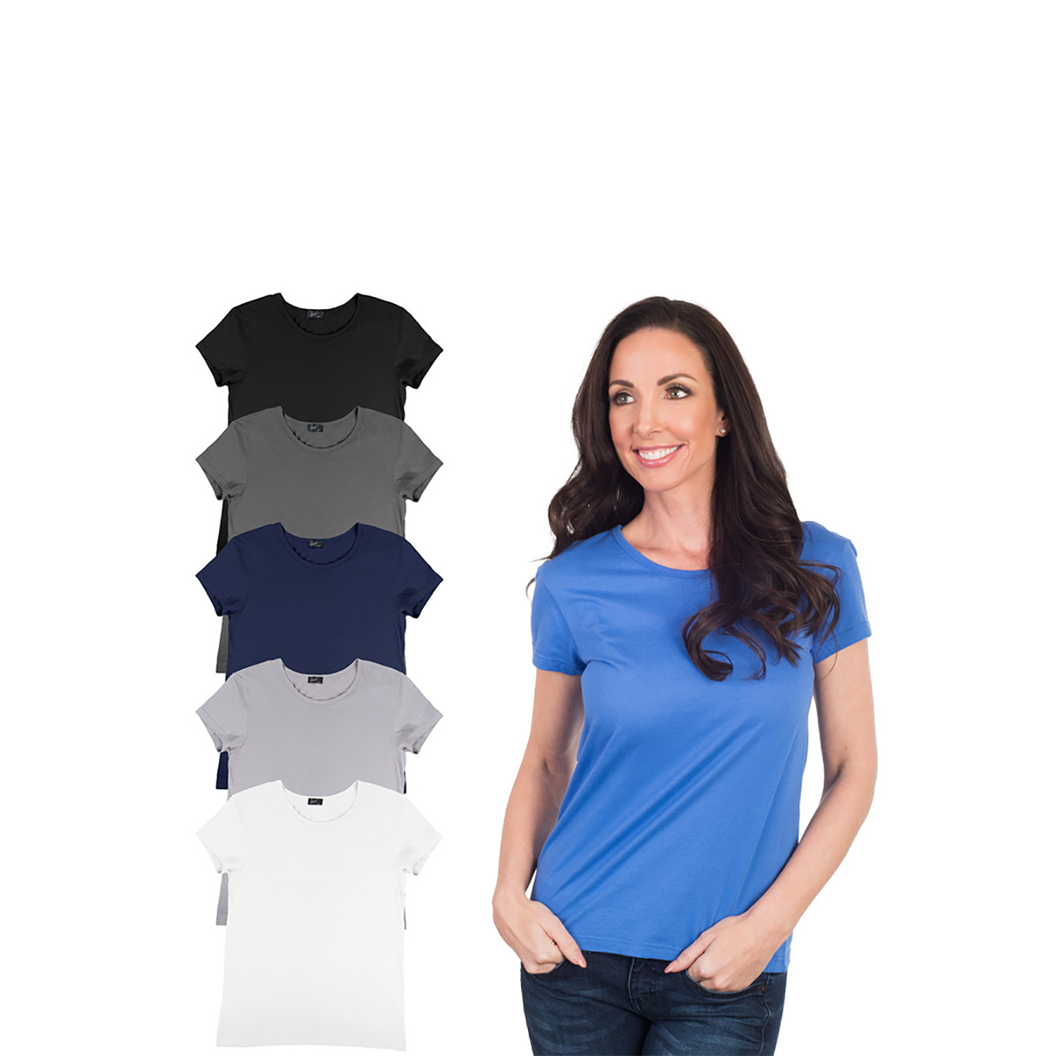 Agiato Women's Basic Crew Neck T-Shirt 6-Pack