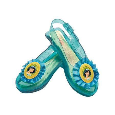 Child Disney Princess Jasmine Aladdin Blue Costume Sparkle Glitter Shoe Slippers - Disney Princess Ballet Shoes
