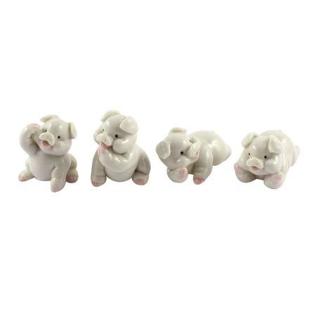 Pig Crafts (Hand Carved Ceramic Pig Statue Figurine Crafts Decor 4 in 1)