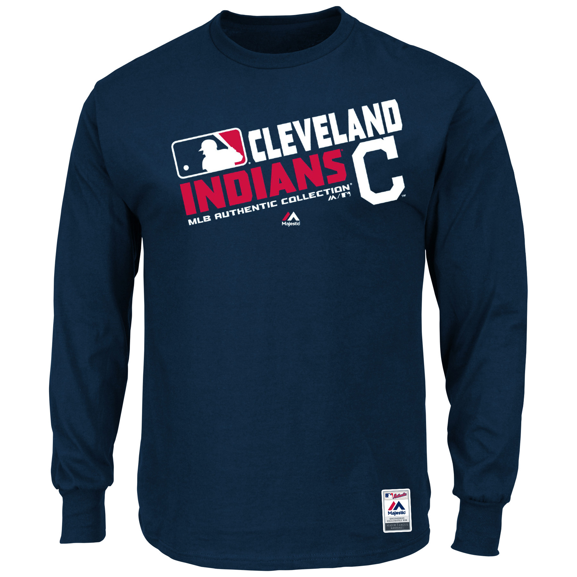 "Cleveland Indians Majestic MLB Authentic ""Team Choice"" On-Field L/S T-Shirt"