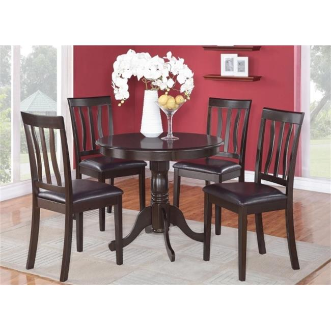East West Furniture ANTI5-CAP-LC 5 -Piece Antique Round Kitchen 36 in. Table and 4 Chairs with Faux Leather seat