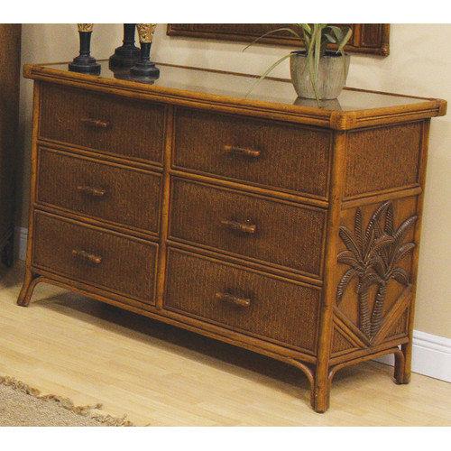 Hospitality Rattan Cancun Palm 6 Drawer Dresser