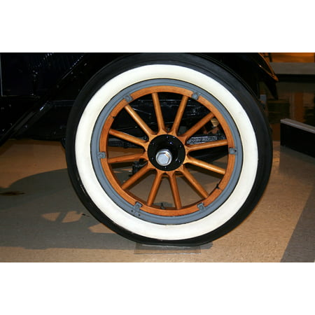 Vintage 8 Spoke (LAMINATED POSTER Antique Spokes Vintage Wood Tire Whitewall Wheel Poster Print 11 x 17)