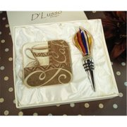 DLusso Designs B32-4 Murano Design Stopper With 2 Coaster Set Coffee, Pack Of - 3.