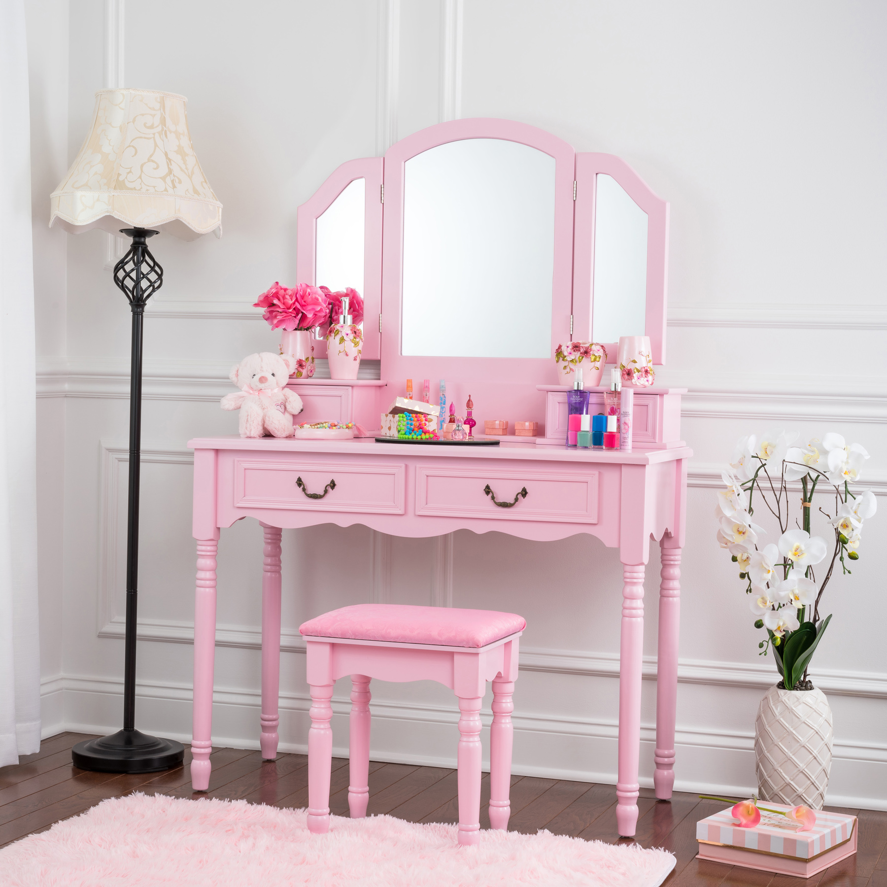 Fineboard Wooden Vanity Set, Dressing Table With 3 Mirrors