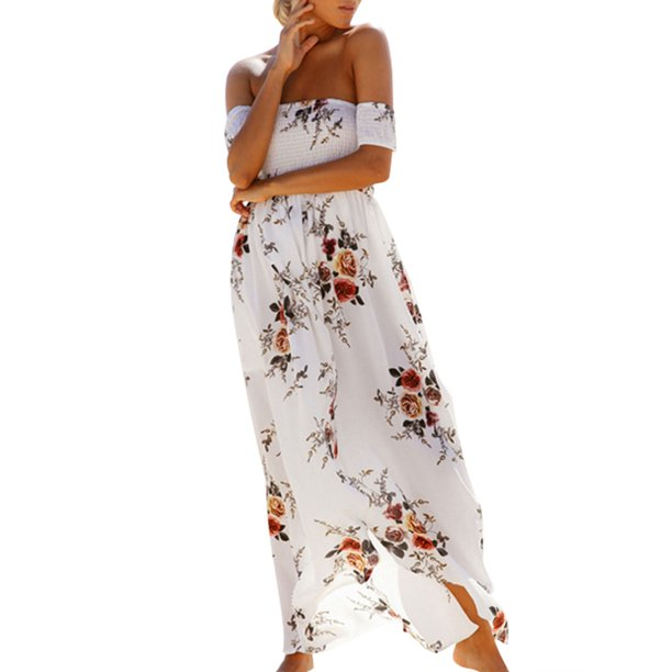 Women Off Shoulder Dress Ladies Floral Printed Beach Party Evening Sundress Front Slit Long Maxi Dress