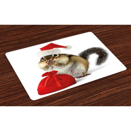 Christmas Placemats Set of 4 Chipmunk in Red Santa Claus Hat and Bag with Surprise Xmas Presents, Washable Fabric Place Mats for Dining Room Kitchen Table Decor,Pale Yellow White Red, by Ambesonne - Present Bag