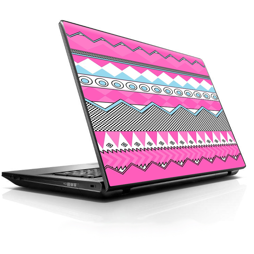 """Laptop Notebook Universal Skin Decal Fits 13.3"""" To 16"""" / Pink Aztec Tribal Chevron"""