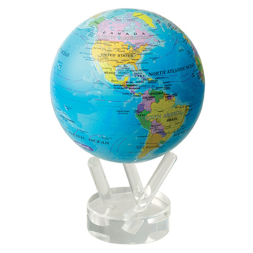 MOVA Globes 4.5'' Blue Oceans with Political Map Globe