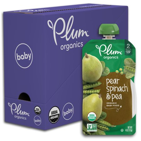 Plum Organics Stage 2, Organic Baby Food, Pear, Spinach & Pea, 4oz Pouch (Pack of 6)