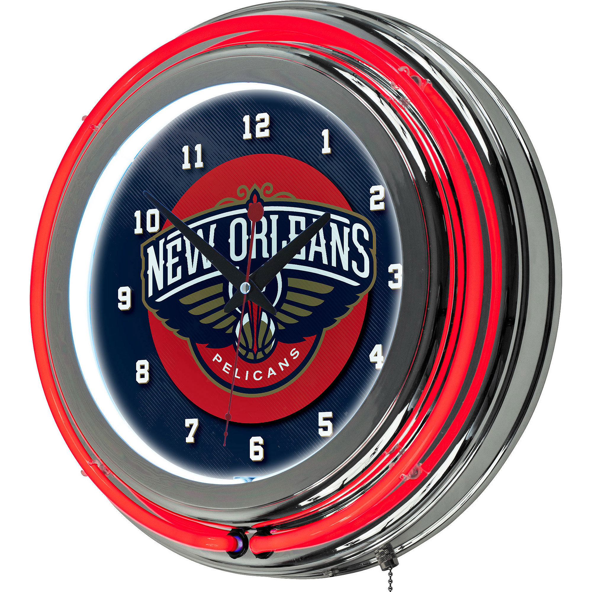 NBA New Orleans Pelicans Chrome Double Ring Neon Clock