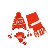 Size one size Kid's Snowflakes Peruvian Hat Scarf and Gloves on a String Set