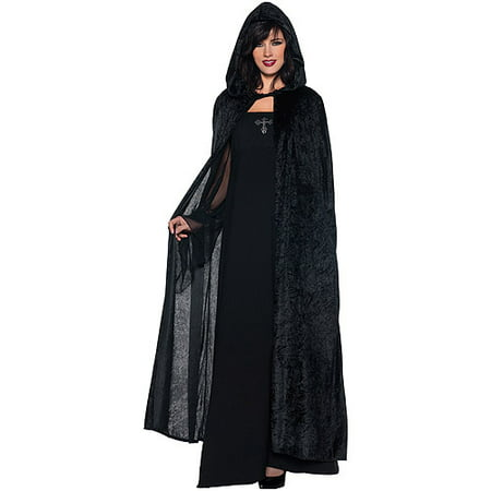 Black Vinyl Halloween Motifs (Black Hooded Cloak Adult Halloween)