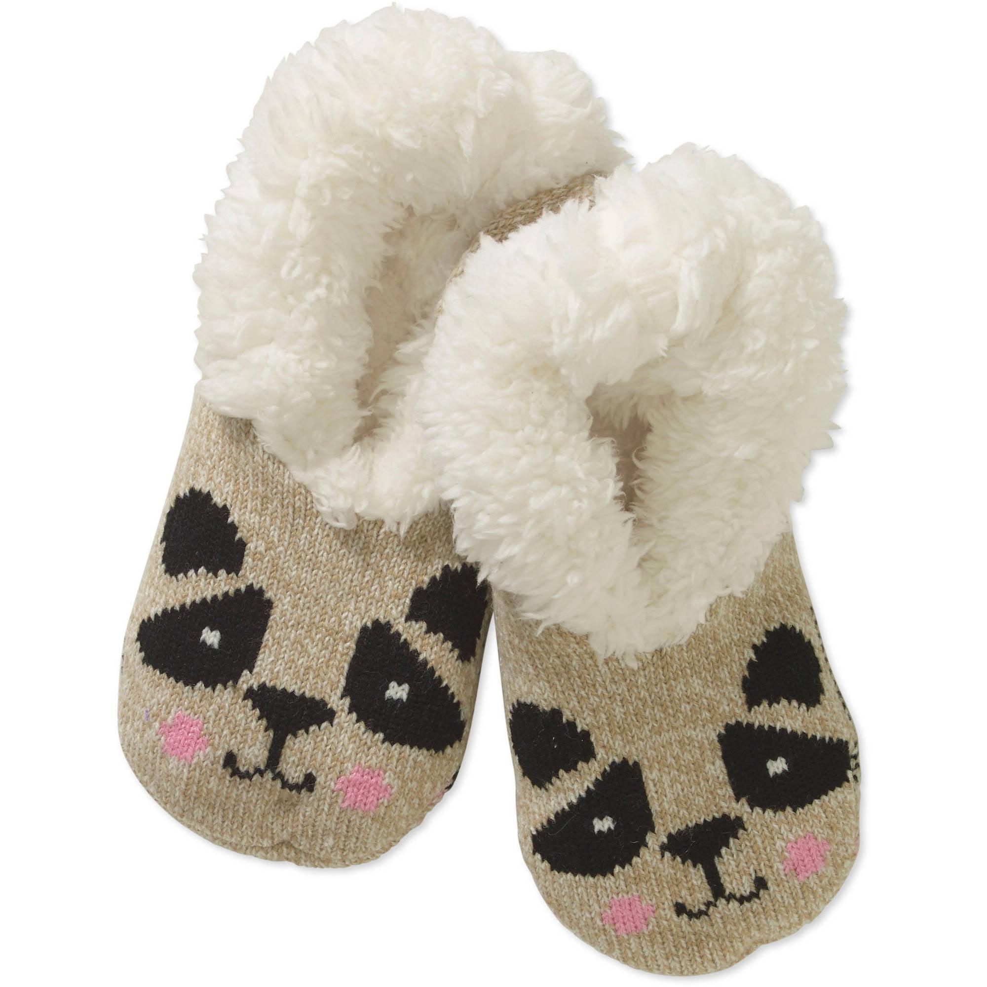 Teddy Fur Critter Face Slipper Socks
