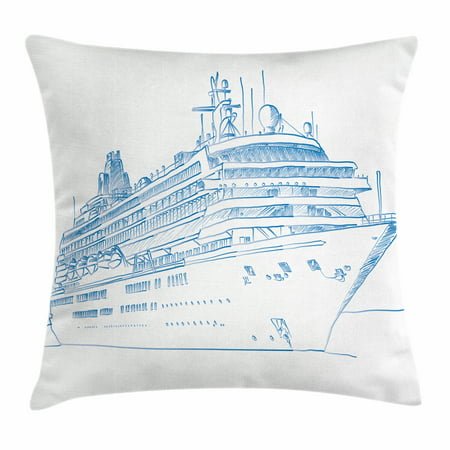 Marine Throw Pillow Cushion Cover, Hand Drawn Sketch Style Cruise Liner Ship Design Ocean Travel Transportation Holiday, Decorative Square Accent Pillow Case, 16 X 16 Inches, Blue White, by (Accent Liner)