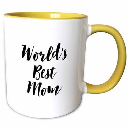 3dRose Phrase - Worlds Best Mom - Two Tone Yellow Mug,