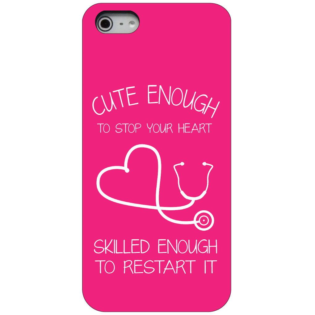CUSTOM Black Hard Plastic Snap-On Case for Apple iPhone 5 / 5S / SE - Hot Pink Nurse Stethoscope Heart