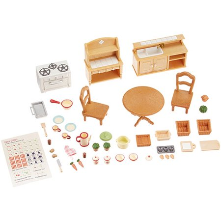 Bedroom Set Calico Critters Furniture (Deluxe Kitchen Set New 2009 - Dollhouse Toys by Calico Critters (CC2267))