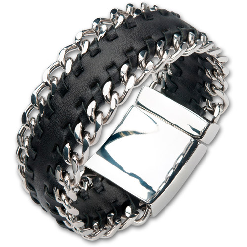 """Steel Art Men's Black Leather Bracelet with Stainless Steel Curb at Both Sides and Magnetic Polished Clasp, 8-1/2"""""""