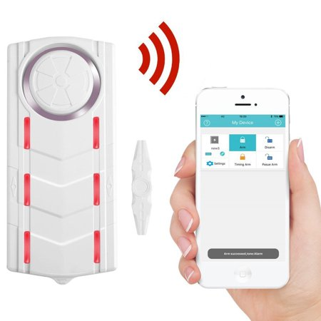 GREENCYCLE 1 Set Intelligent Dudible Visual Magnetic Alarm Wireless Appp Control Doorbell Home Store Security Sensor Siren Window Alert 110dB Sound Light Remote - Alert Siren