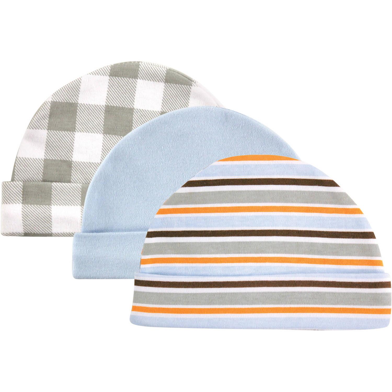 Luvable Friends Newborn Baby Boys Cap 3-Pack, 0-6 months