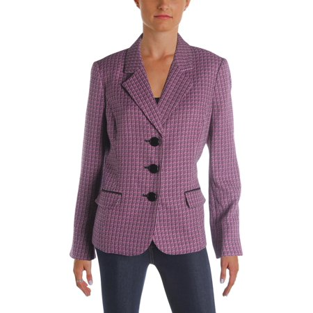 Le Suit Womens St Augustine Tweed Textured Three-Button Blazer Purple (Augustine On Women)
