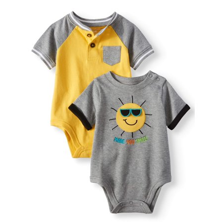 Garanimals Baby Boys' Pocket Henley and Graphic Bodysuits, 2-Piece (Best Baby Aspen Friend For Boy And Girls)
