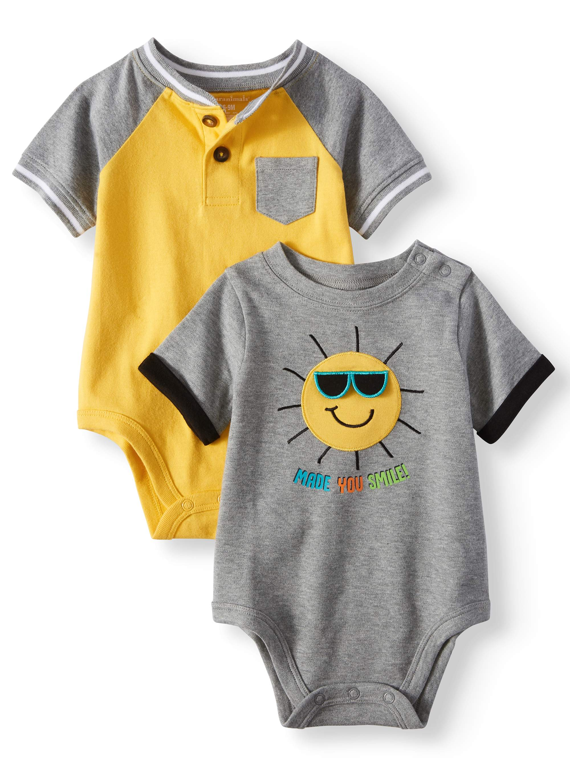 Baby Boys' Pocket Henley and Graphic Bodysuits, 2-Piece Multi-Pack