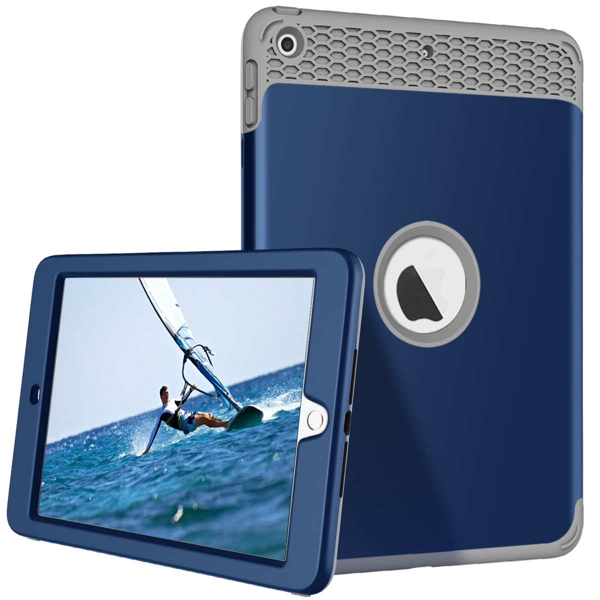 New iPad 9.7 2018/ 2017 Case, Allytech High-Impact Shock Absorbent Three Layer Armor Silicone+Hard PC Bumper Protective Case for iPad 9.7 inch 5th/6th Generation (A1822 A1823 A1893 A1954), Darkblue