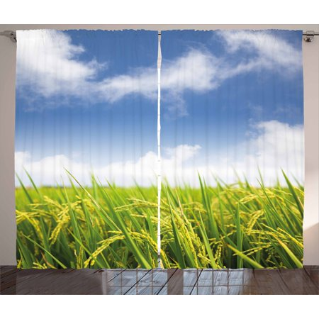 Plant Curtains 2 Panels Set  Asian Cultivated Farm Paddy Rice Field Agriculture Food Eastern Countryside  Window Drapes For Living Room Bedroom  108W X 108L Inches  Sky Blue Apple Green  By Ambesonne