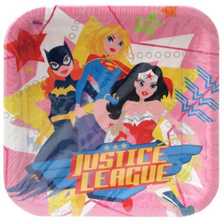 Justice League Girls Large Paper Plates (8ct) - Justice League Girl