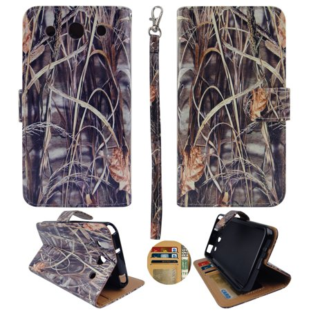 Camo Grass  Wallet Folio Case for LG Optimus G Pro E980 Fashion Flip PU Leather Cover Card ID Card Slots & Stand ()