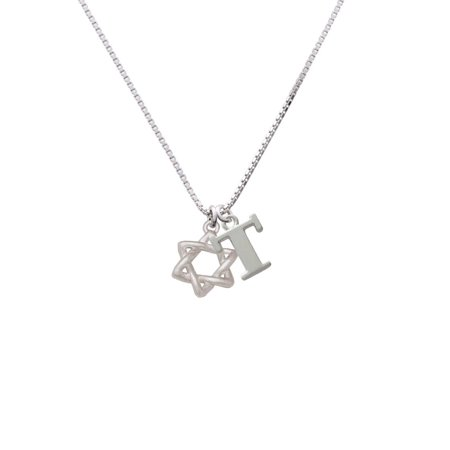Silvertone Woven Star of David - T - Initial Necklace