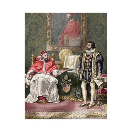 Pope Clement VII (1478-1534), with the King of France Francis I (1494-1547). Colored Engraving Print Wall Art By Tarker ()