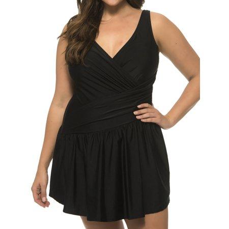 Women's Black Swimdress - Full Coverage - Crossover Design Size: (Full Coverage Swimwear)