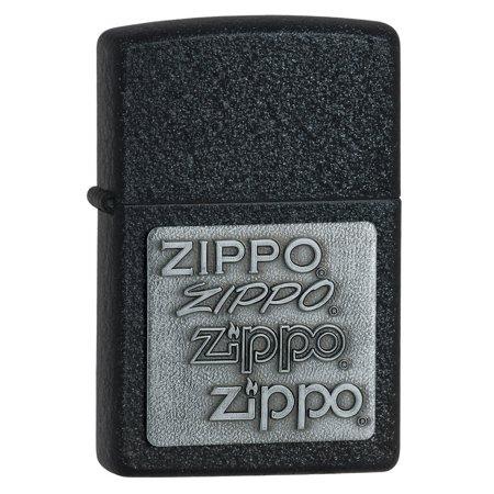 Zippo Silver Emblem Black Crackle Lighter