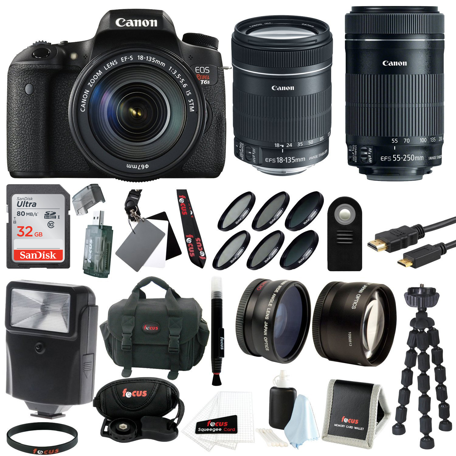 Canon EOS Rebel T6s EF-S 18-135mm IS STM and EF-S 55-250m...