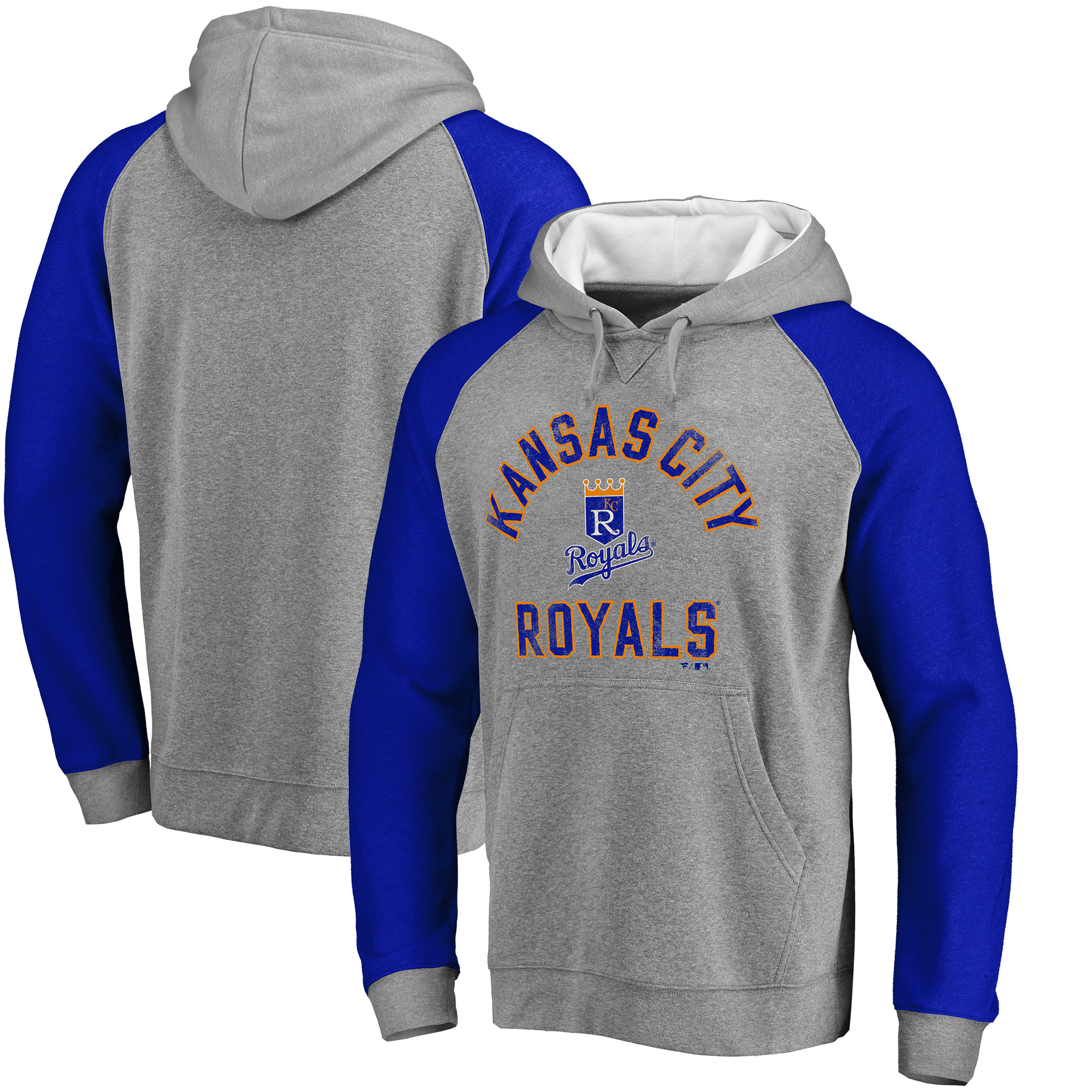 Kansas City Royals Comfort Colorblock Vintage Raglan Hoodie - Gray