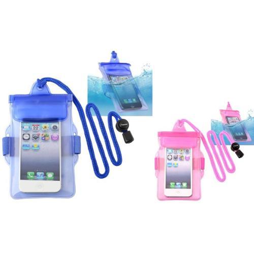 Insten 2-pack (Blue+Hot Pink) Waterproof Bag Case For iPhone 5S 5C 5 4 4S / LG VS840 VS740 VN530 VN250 LS696 LS670 LN510