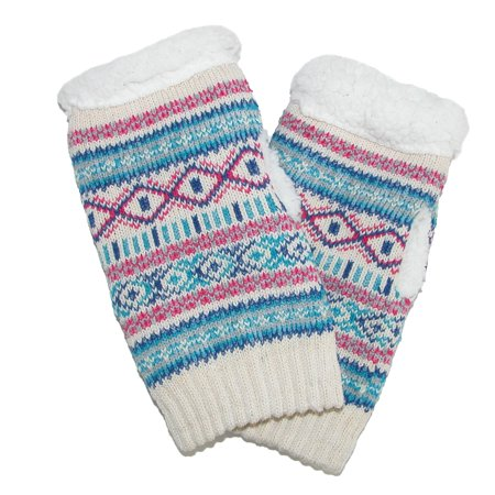 Alotta Knits  Womens Knit Texting Gloves With Sherpa Fleece Lining