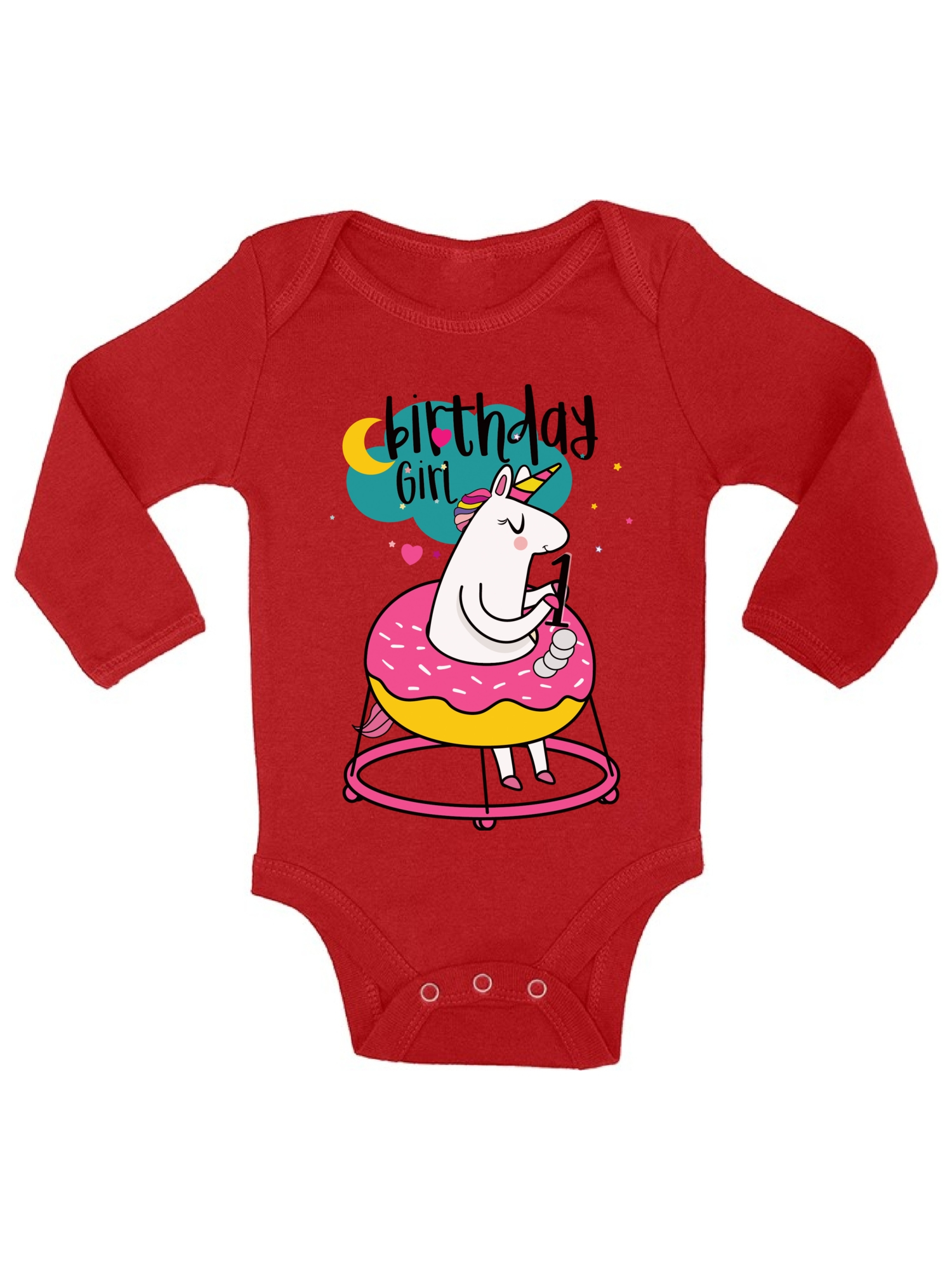 Birthday Girl Baby Bodysuit Short Sleeve Unicorn Birthday One Piece Top 2nd Birthday Party Outfit Unicorn Gifts for Baby Girl.