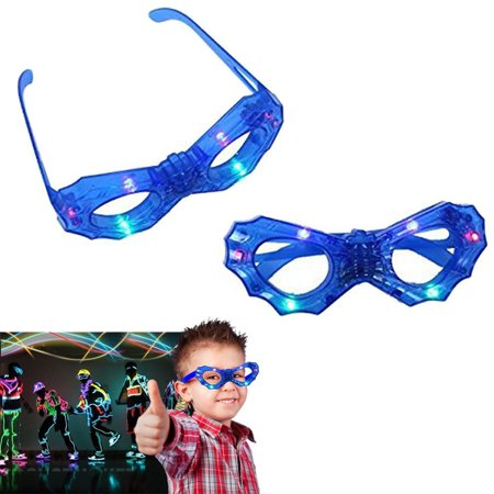Kids LED Light Up Glasses - Bright Blue Frame with Multi Colored Flashing Lights - Battery Powered with Easy On/Off Switch - by Dazzling - Glasses With Led Lights