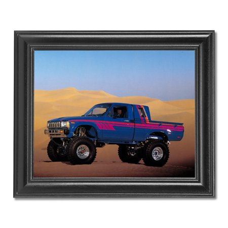 Blue Toyota 4x4 Pickup Truck in Desert Photo Wall Picture Black