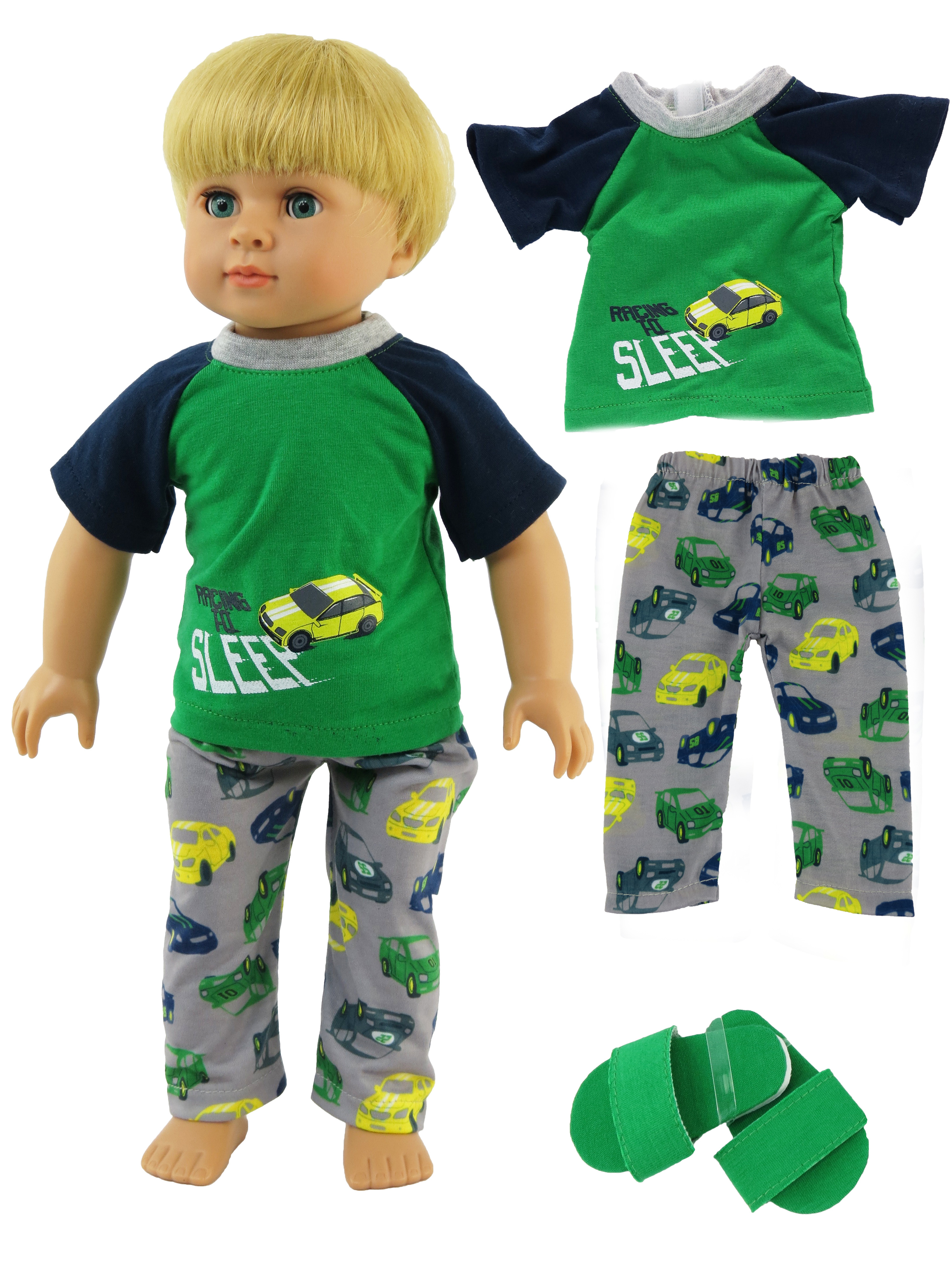 "Boy's Racecar 2 Pc Pajamas  | Fits 18"" American Girl Dolls, Madame Alexander, Our Generation, etc. 