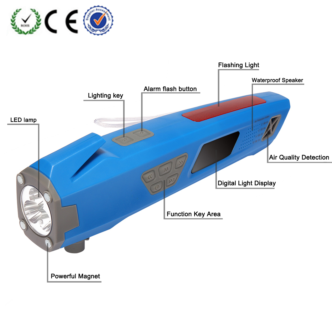 XLN-711 Multi-functional Flashlight Air Quality Testing Car Emergency Tool Blue